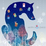 Happy Holidays. Two dogs. Inverted and negative space design. Happy new year. Holidays greeting card. Illustration Stock Photo