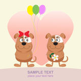 Two dogs love. Greeting card. Сute puppy i love you forever card Stock Photos