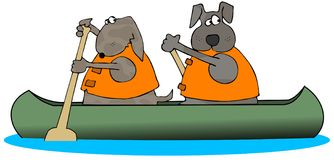Two Dogs Paddling A Canoe. This illustration depicts 2 dogs paddling a canoe Royalty Free Stock Photography