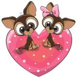 Two Dogs is sitting on a heart. Two Cute Cartoon Dogs is sitting on a heart Stock Photos