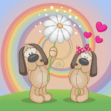Two Dogs. Valentine card with two Dogs on a meadow Royalty Free Stock Image