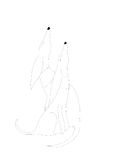 Two dogs white. Two stylized abstract art nouveau dogs. Two dogs, whippet type sitting with noses pointing upwards, perhaps waiting for food. Cartoon pen Royalty Free Stock Photos