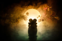 Two doll hugging on table with flowers and moon decoration Lighted background with smoke.Love concept. Greeting or gift card desig Stock Images