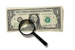 Two dollar. Two one-dollar banknotes with inscription two under magnifying lens Royalty Free Stock Photo