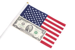 Two Dollar On American Flag Royalty Free Stock Photography