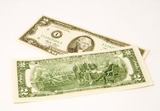 Two-dollar bill. A very rare US two-dollar bill shot from both sides Royalty Free Stock Photography
