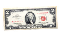 Two dollar bill. A two dollar bill isolated on a white background royalty free stock photos
