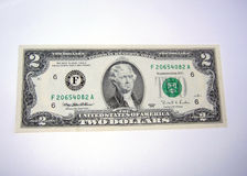 Two dollar bill. American two dollar bill royalty free stock photos