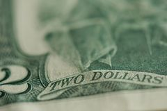 Two dollar bill banklnote. Close up view royalty free stock images