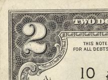 Two dollar bill close-up on white Stock Image