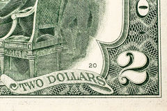 Two dollar bill. Closeup of the back of a two dollar bill stock photography