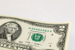 Two dollar bill. The front of a two dollar bill; shallow depth of field Stock Image
