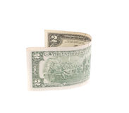 Two dollar bill. Isolated on a white background stock photo