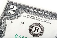 Two-dollar bill. on a white background end stacked. royalty free stock photo