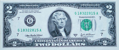 Two-dollar bill. With Jefferson royalty free stock photos