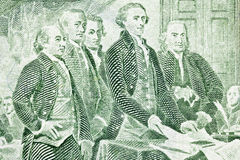 Two Dollar Bill Macro presenting of Declaration of. Macro of US two dollar bill. Jefferson, Franklin, Adams and other Colonials presenting the Declaration of stock photo