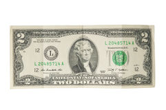 Two dollar bill. On white background royalty free stock image