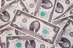 Two dollar bills. Money Royalty Free Stock Photography