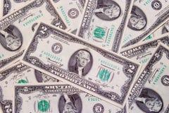 Two dollar bills. Money royalty free stock photography