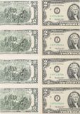 Two-dollar bills. Close up. Royalty Free Stock Image