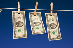 Two Dollar Bills on Clothesline Royalty Free Stock Photo