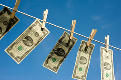 Two Dollar Bills on Clothesline Stock Photography