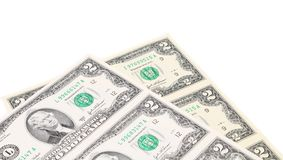 Two-dollar bills. There is white space for text. Royalty Free Stock Photo