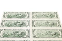 Two-dollar bills. There is white space for text. Royalty Free Stock Images