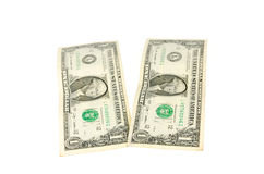 Two dollar. Two one dollar bank on white background Royalty Free Stock Photos