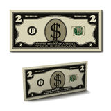 Two dollar paper bill banknote Stock Image