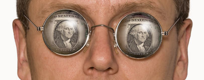 Two dollars. Man's face fragment in points with the dollar image stock image