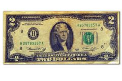 Two dollars. The image of old two dollar denominations Royalty Free Stock Images