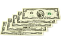 Two dollars. Five denominations together. Stock Image