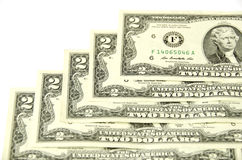 Two dollars. Five denominations together. royalty free stock photography