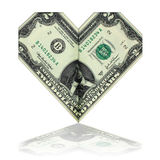 Two dollars, folded in the form of heart Stock Image