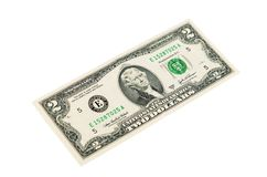 Two dollars isolated on white background Royalty Free Stock Photos