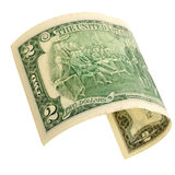 Two dollars isolated. Royalty Free Stock Photography