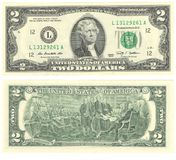 Two dollars money, USD USA American dollars banknotes. Two dollars money USD USA American dollars banknotes currency Royalty Free Stock Photography