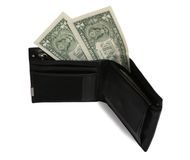 Two dollars in wallet Stock Photography