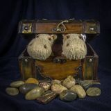 Two hippopotamuses, peeping out of a chest, standing on stones. Two dolls hippopotamuses, peeping out of a chest, standing on stones stock photography