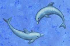 Two dolphins. Hand-made illustration of two dolphins in the sea Royalty Free Stock Photos