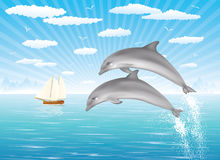 Two dolphins. Two dolphins jumping out of water in the ocean.  Sailing ship on the background Stock Images
