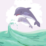 Two dolphins. Two blue dolphins in green sea vector illustration