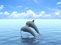 Two dolphins floating at ocean. Royalty Free Stock Photos