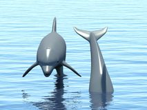 Two dolphins floating at ocean. Stock Photo