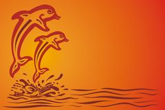 Two dolphins jumping over the waves. Vector illustration Royalty Free Stock Photos