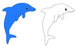Two dolphins one blue another white. Isolated Stock Images