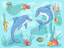 Two dolphins in the sea. Cartoon illustration Royalty Free Stock Photos