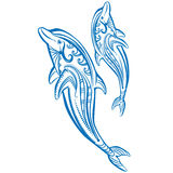 Two dolphins Sketch of decorated dolphin. Two dolphins Sketch of decorated blue dolphin Royalty Free Stock Photo