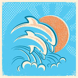 Two dolphins and sun.Vector retro illustration of parent and bab Stock Images